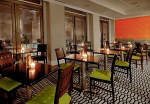 hotel dining area with green seats