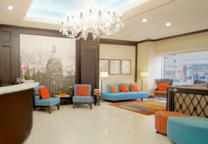 hotel front desk and seating area