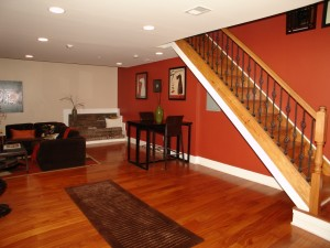 lower level with hardwood floors
