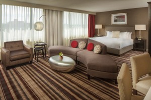 hotel guest room with sitting area