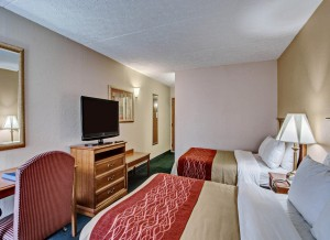 hotel guest room with two beds