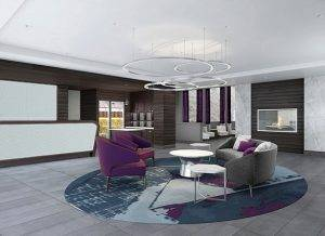 hotel lobby with purple chairs